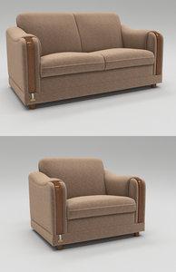 3D model single seating sofa