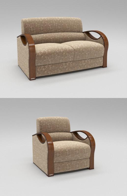 single luxury modern sofa 3D