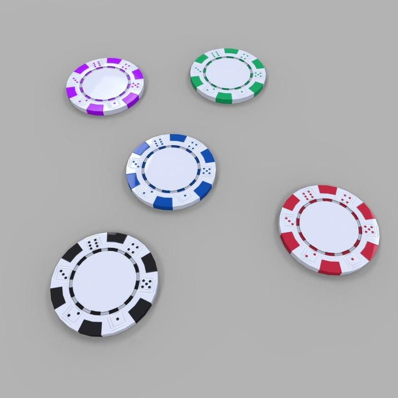 casino poker coin 3D model