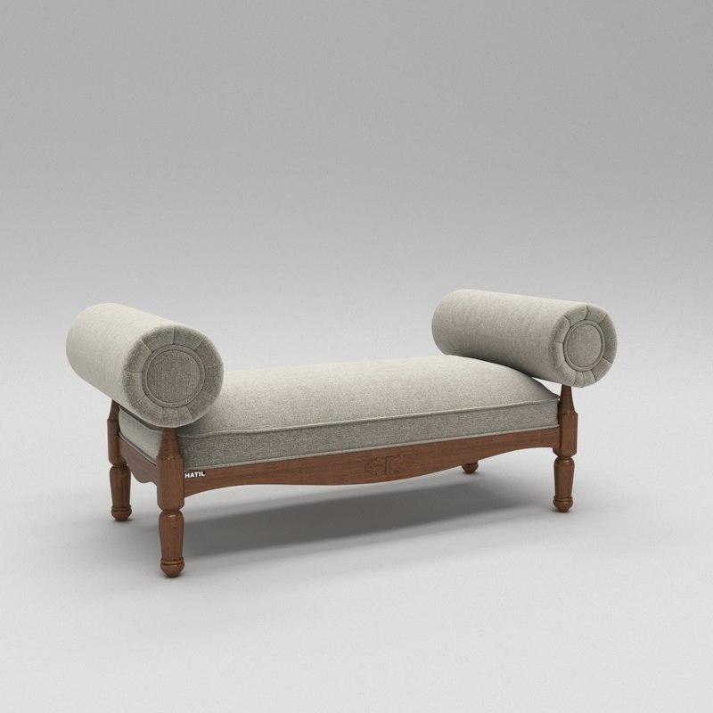 wooden luxury divan sofa 3D model
