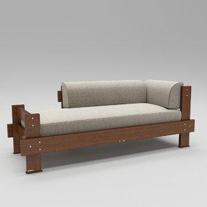 3D wooden divan sofa model