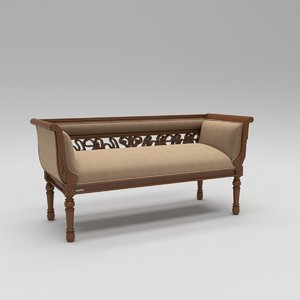 3D traditional wooden divan sofa