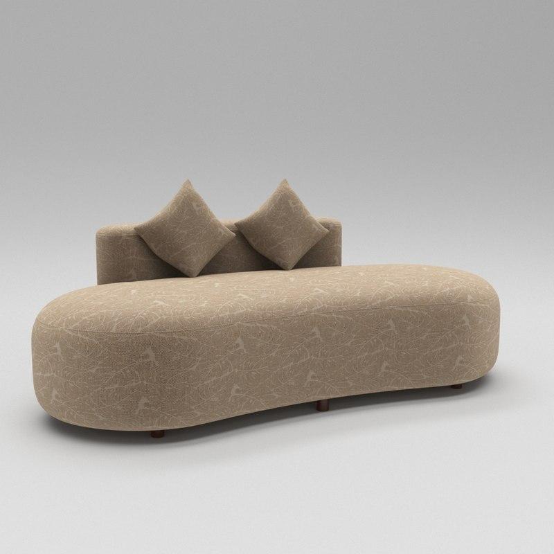 stylish luxury divan sofa 3D model