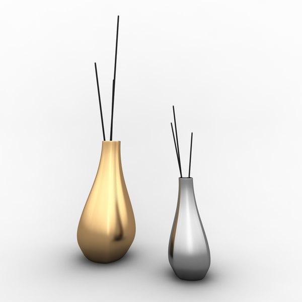 2 vase silver gold 3D