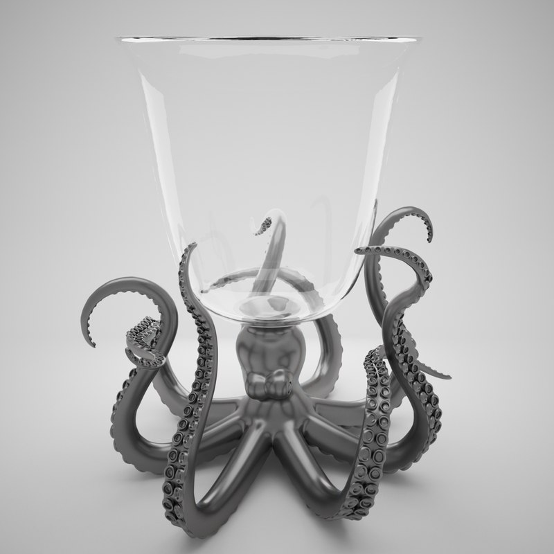 octopus glass ice bucket 3D model