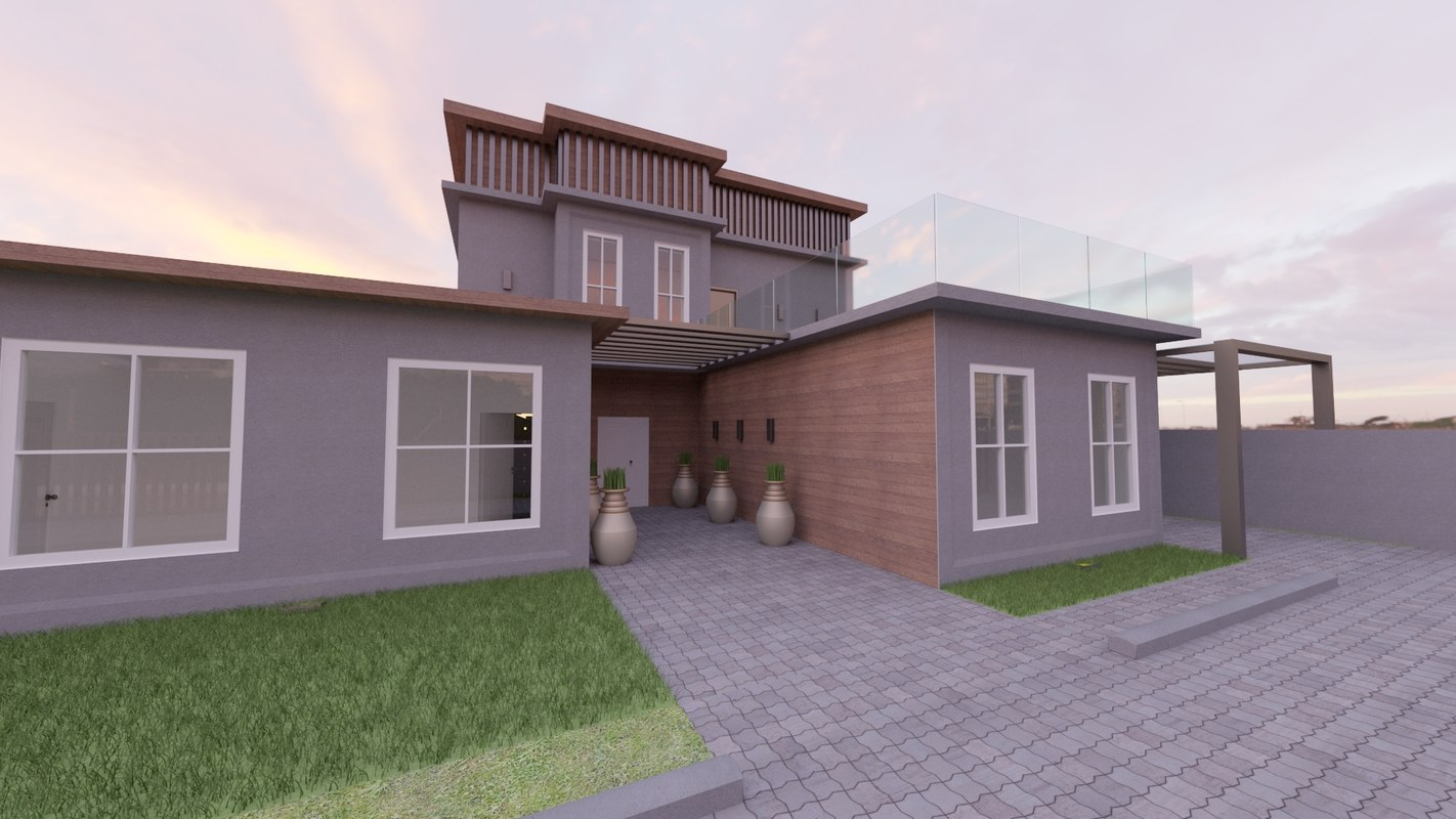 3D simple modern bedroom home