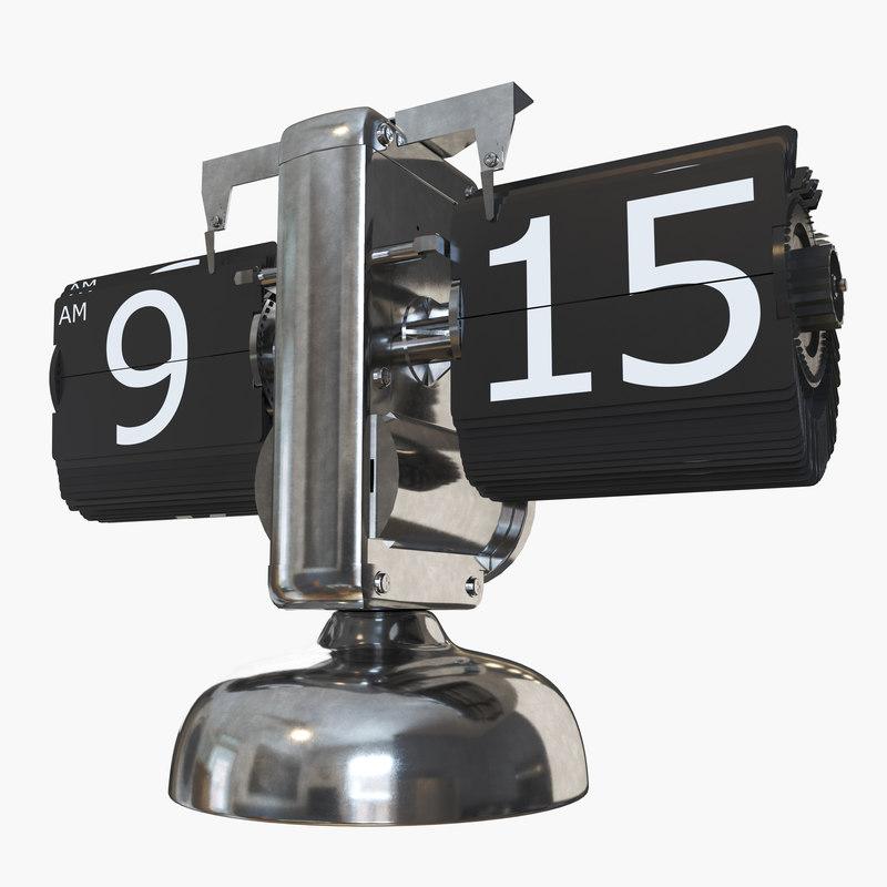 3D retro flip clock