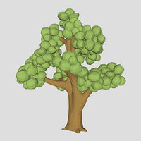 Low poly Elm tree 3d model