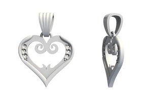 3D jewelry heart pendant diamonds
