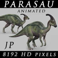 3D jurassic park parasaurolophus animation model