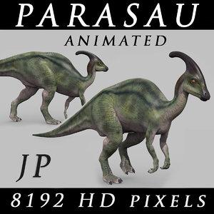 3D jurassic park parasaurolophus animation model