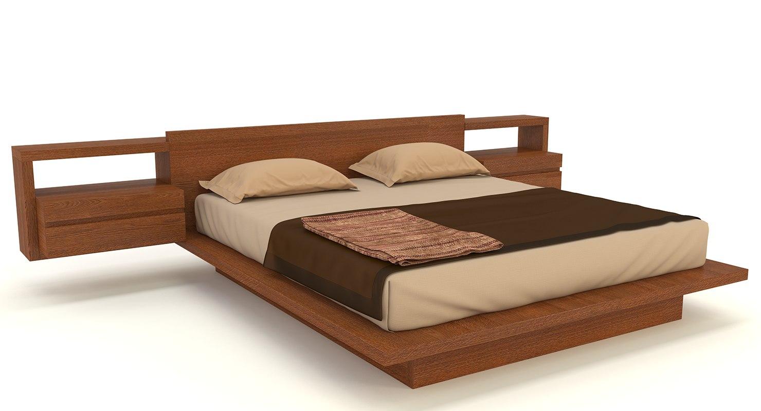 wooden double bed 3D model