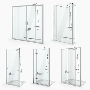 shower doors ravak set 3D model