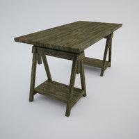 table adjustable height sawhorses 3D