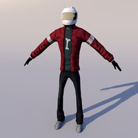 Nico Human Rigged Character with Helmet accessory 3D model