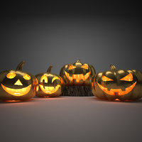 Halloween golden pumpkins 3D model