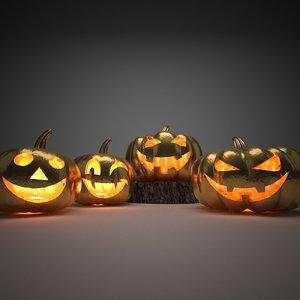 halloween pumpkin golden 3D