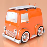 Cartoon Combi Surf Van