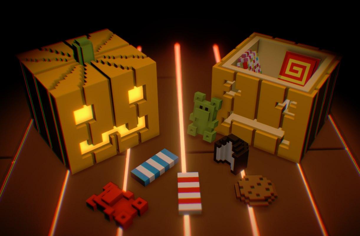 3D voxel pumpkins sweets
