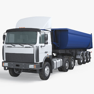 dump semi truck 3D