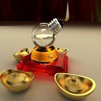 3D chinese gold ingot oil lamp model