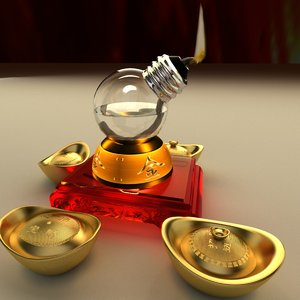 3D chinese gold ingot oil lamp model