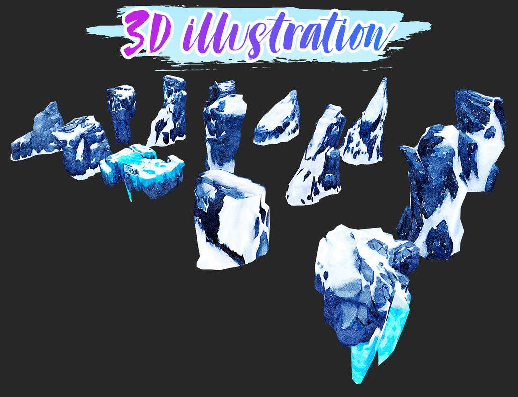 3D rocks illustrations model
