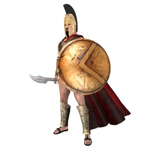 3D model rigged king leonidas