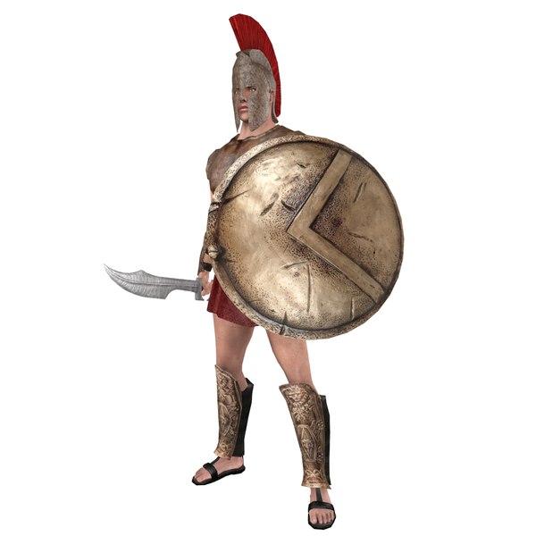 rigged spartan warrior model