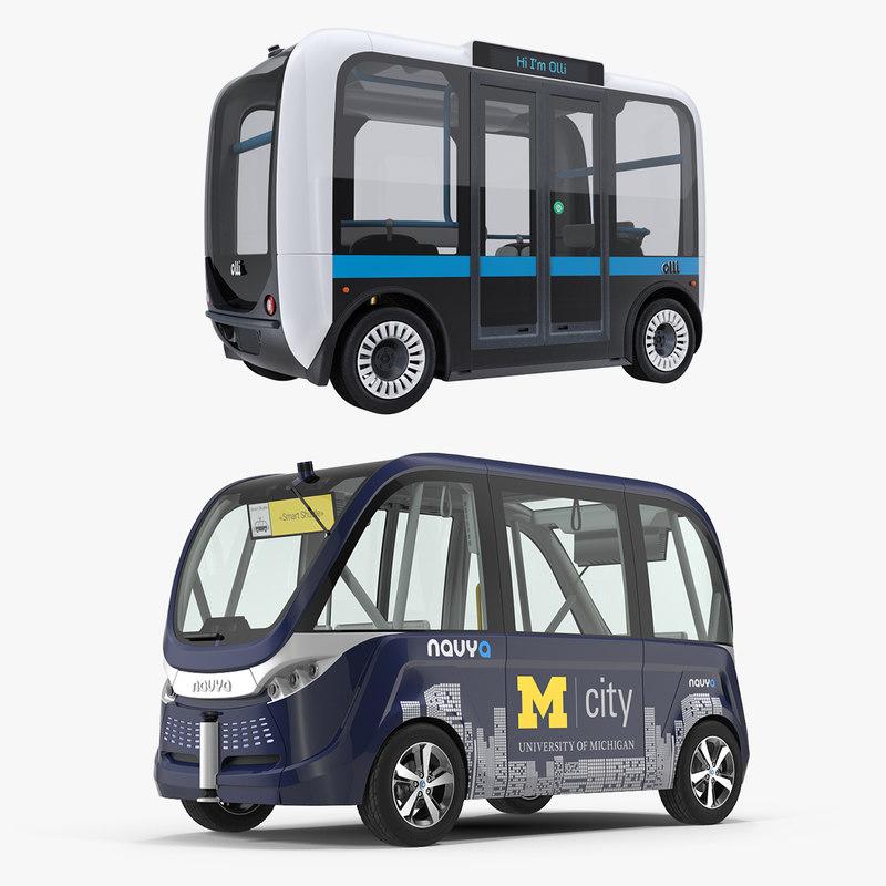 self driving buses bus 3D model