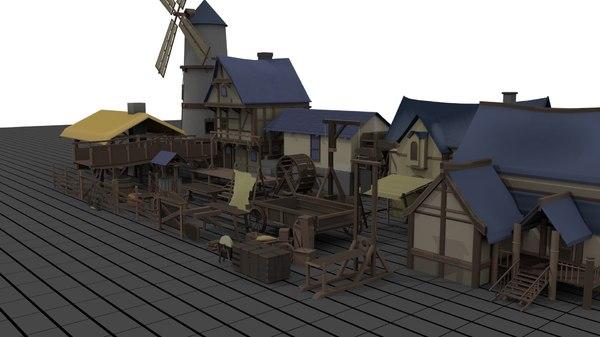 3D medieval village pack