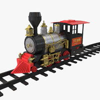toy train locomotive rails 3D