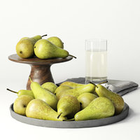 3D pears food fruit