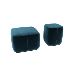 3D model poufs green blue