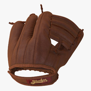 3D vintage baseball glove shoeless