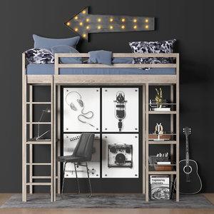 3D kieran study loft bed model