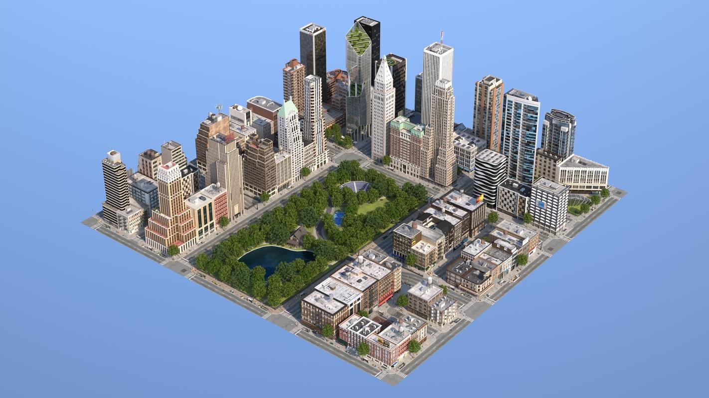 3D city buildings park