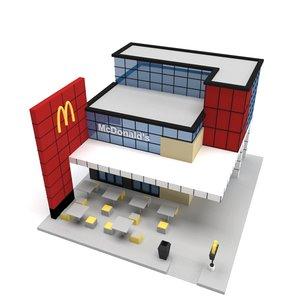 3D mcdonald s building polys model
