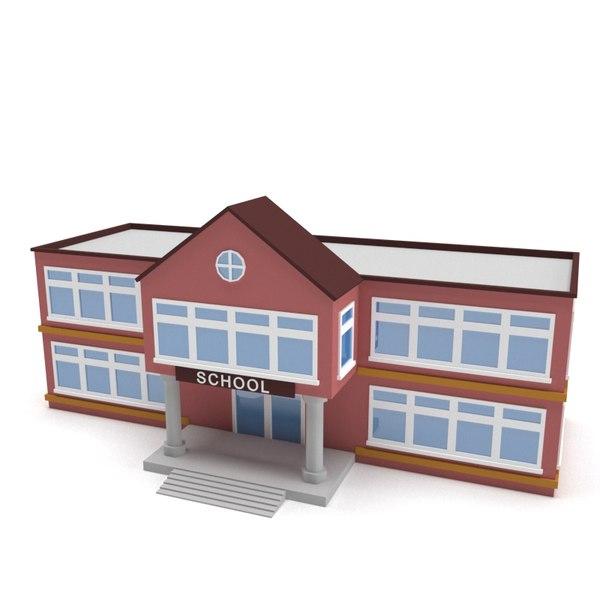 3D school building polys model