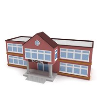 3D school building polys model