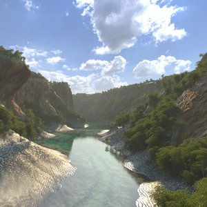 3D canyon riverbed
