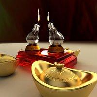 chinese gold ingot oil lamp 3D model