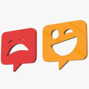 3D model emotion square smileys icons