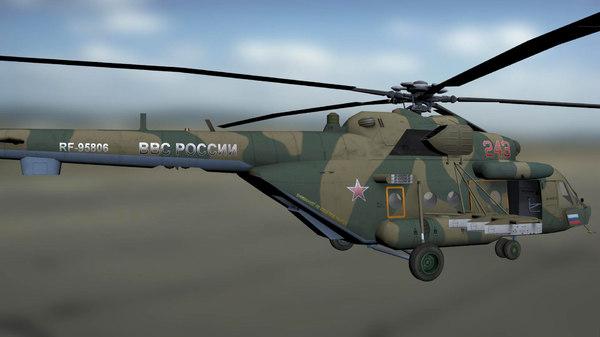 3D russian mil mi-8 military transport