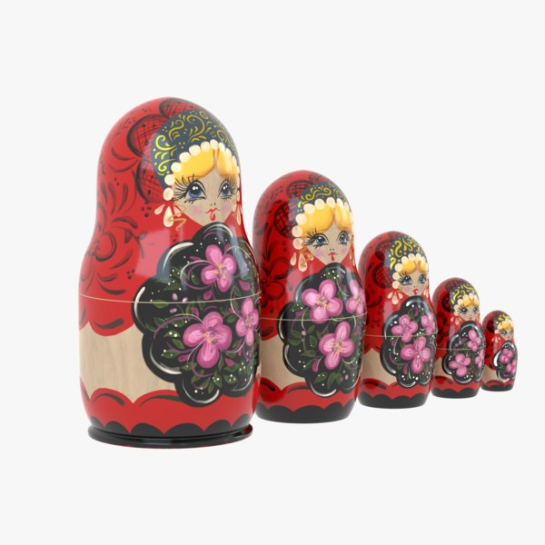 russian matryoshka dolls 3D model