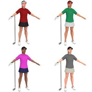 3D pack female golf woman