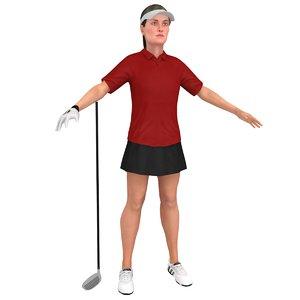3D model female golf woman