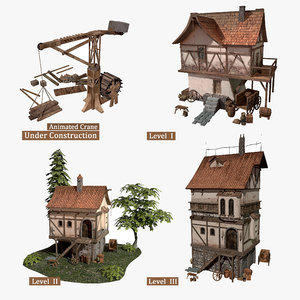 fantasy medieval building crane 3D model