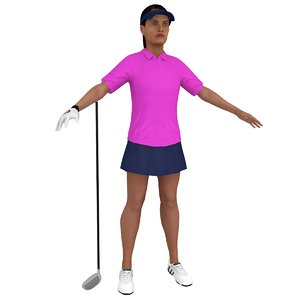 3D female golf 3 woman model
