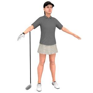 female golf woman 3D